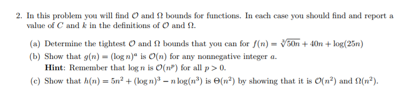 In this problem you will find o and bounds for chegg in this problem you will find o and bounds for functions in sciox Images