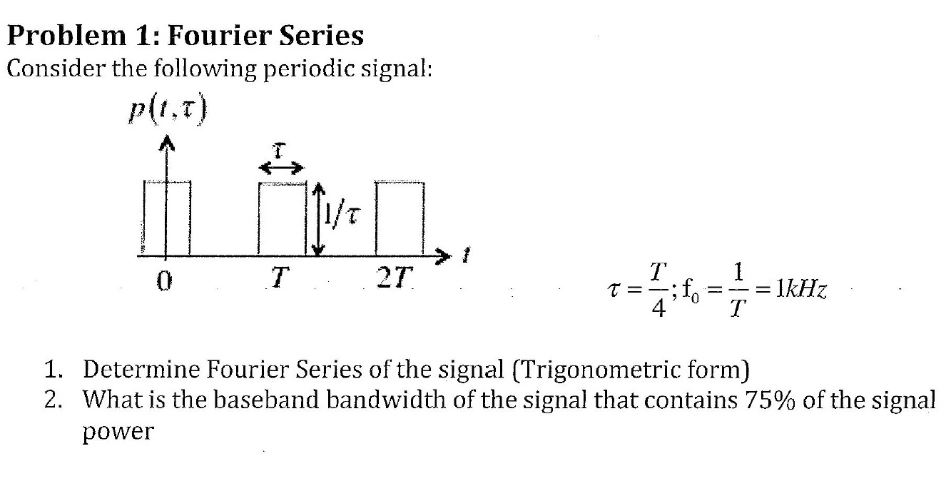 Consider the following periodic signal: Determine