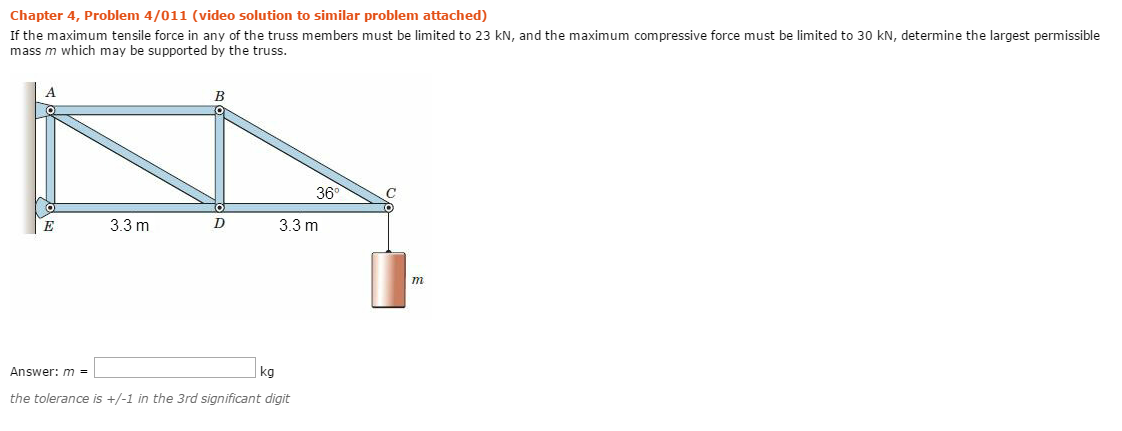 If The Maximum Tensile Force In Any Of The Truss M... | Chegg.com
