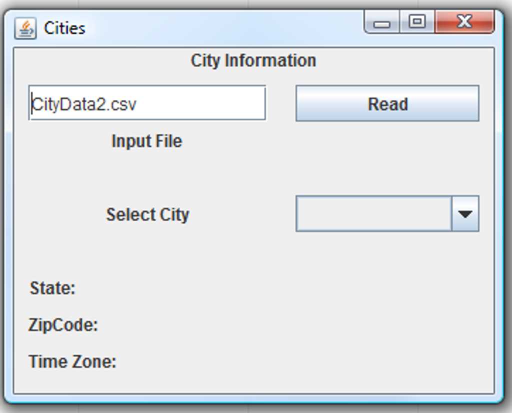 City GUI Write A Java GUI Program Which Reads Data Cheggcom - Us zip codes list by city