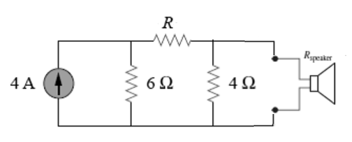 The speaker in the following circuit has a