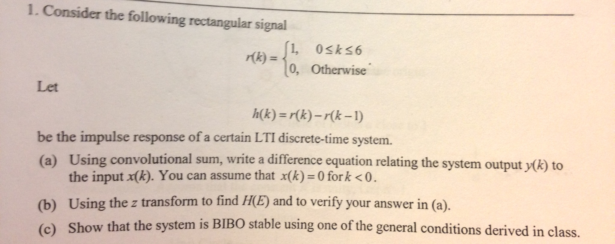 Consider the following rectangular signal r(k)={1