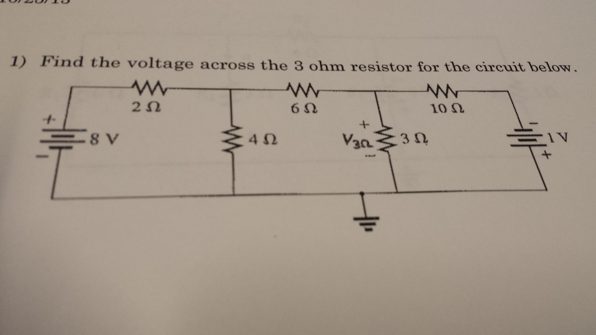 Find the voltage across the 3 ohm resistor for the