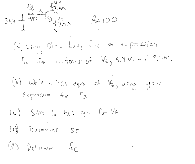 Using Ohm's law, find an expression for IB in te