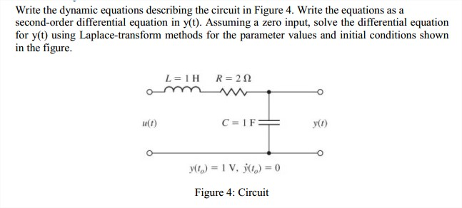 Write the dynamic equations describing the circuit