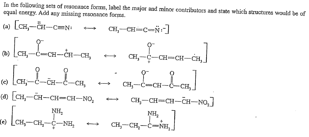 In the following sets of resonance forms, label th