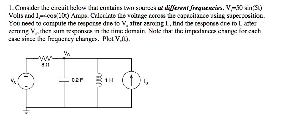 Consider the circuit below that contains two sourc