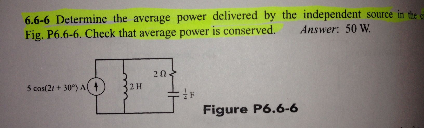 Determine the average power delivered by the indep