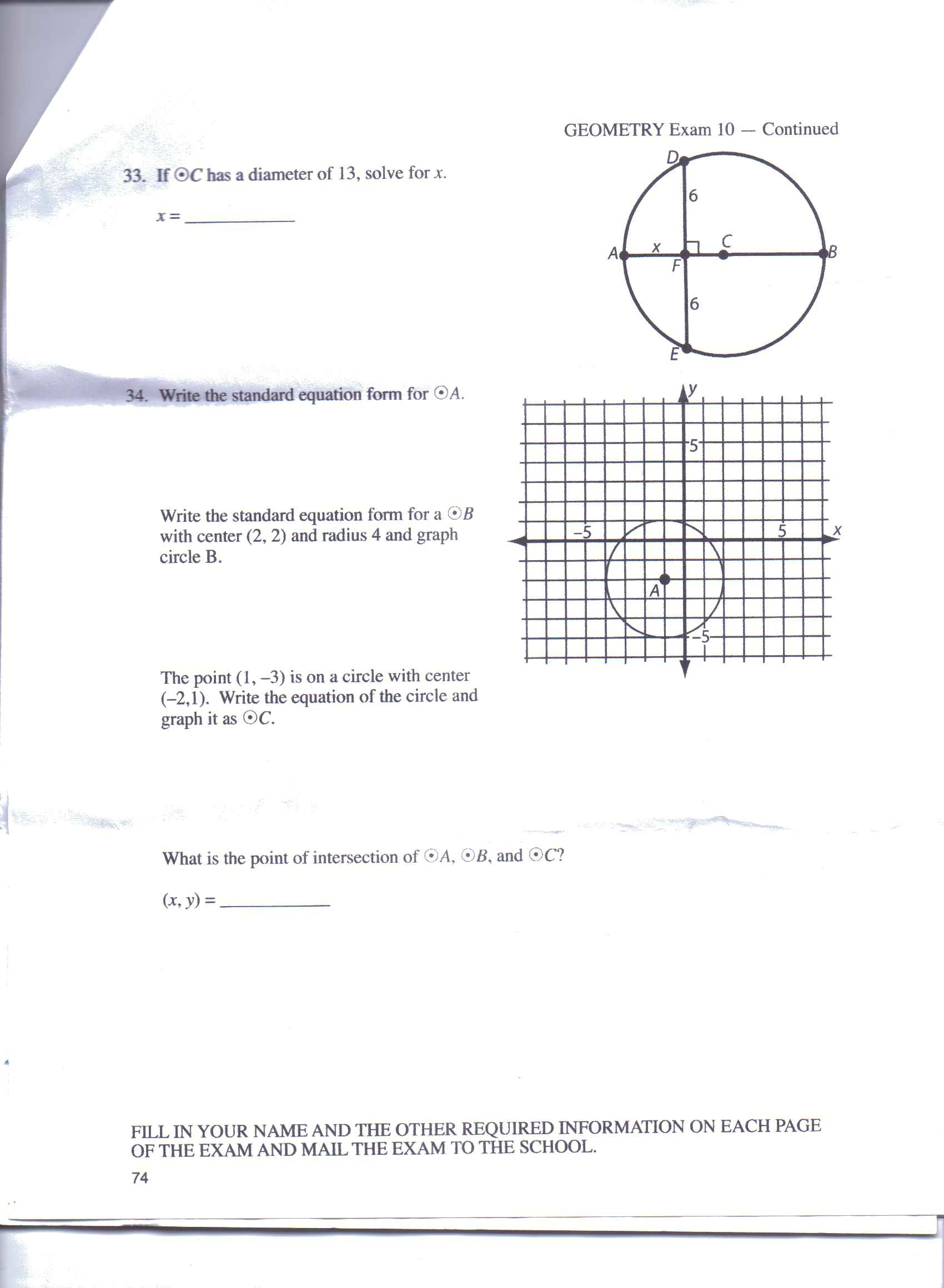 Solved on number 34a please graph circle b on34b pl if c has a diameter of 13 solve for x write th falaconquin