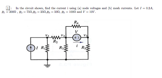 In the circuit shown, find the current i using nod