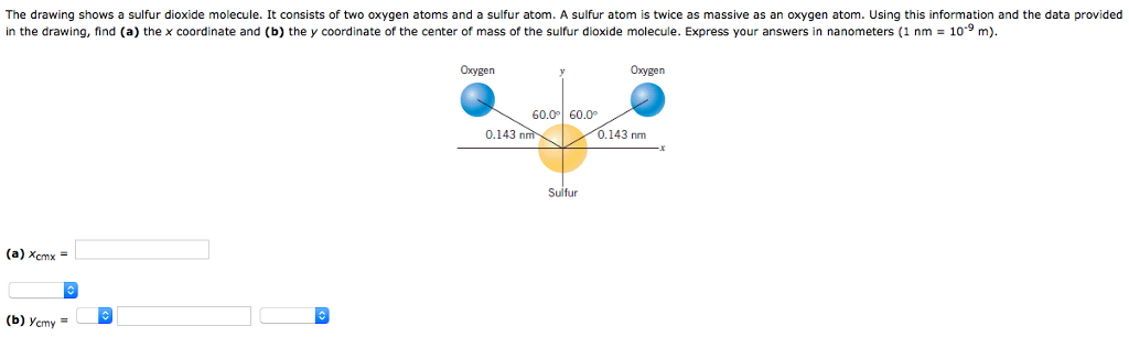 Solved the drawing shows a sulfur dioxide molecule it co question the drawing shows a sulfur dioxide molecule it consists of two oxygen atoms and a sulfur atom a ccuart Choice Image