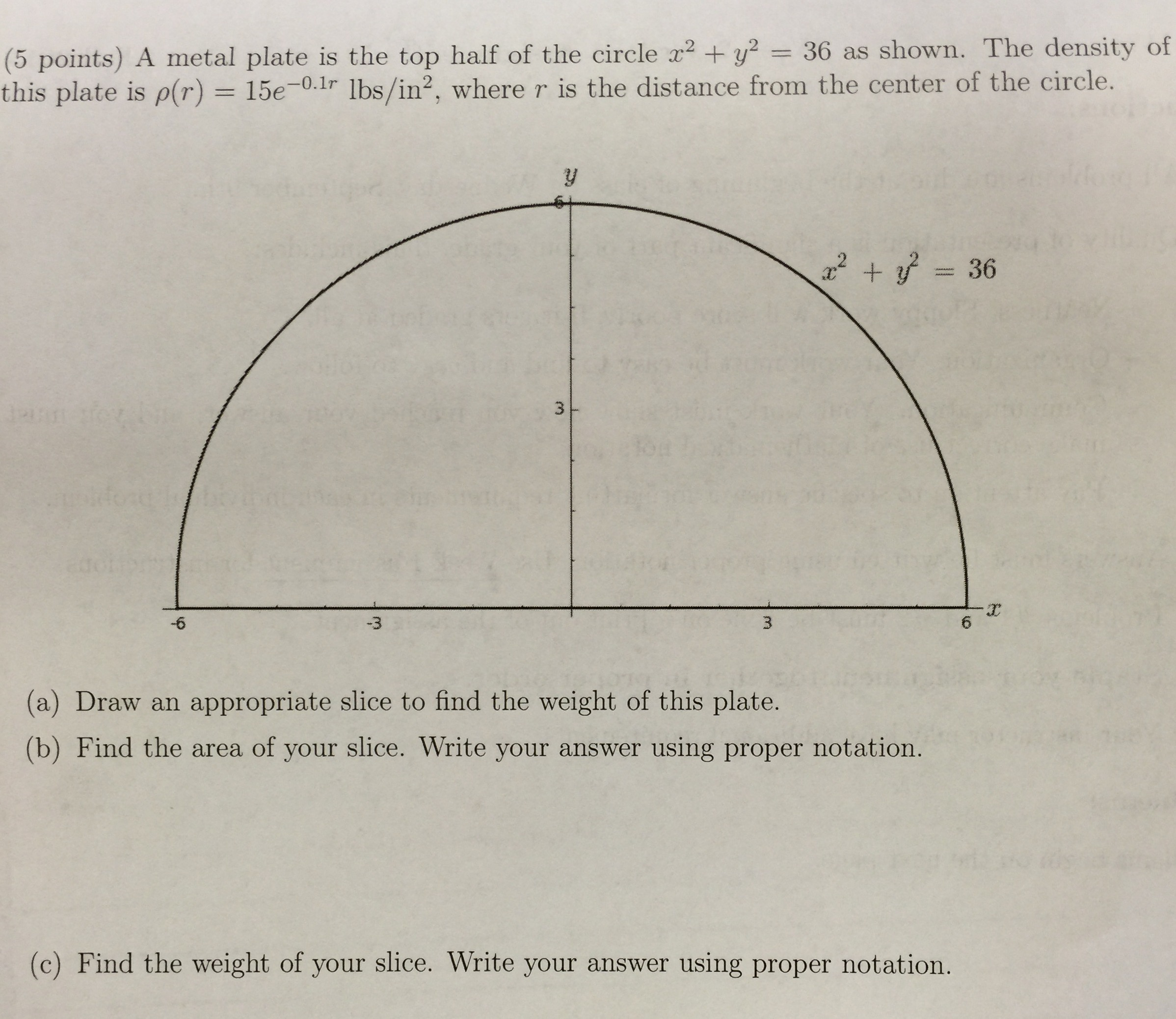 Image For A Metal Plate Is The Top Half Of The Circle X^2 +