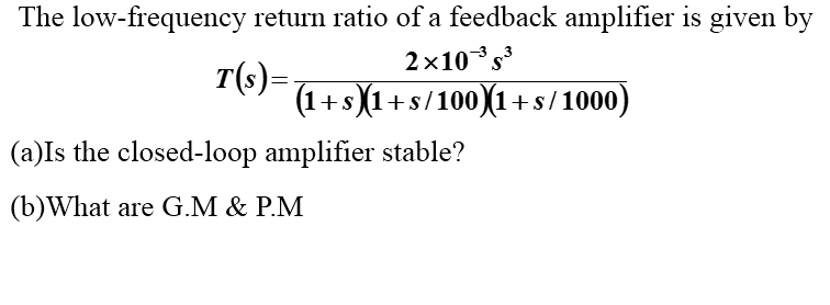 The low-frequency return ratio of a feedback ampli