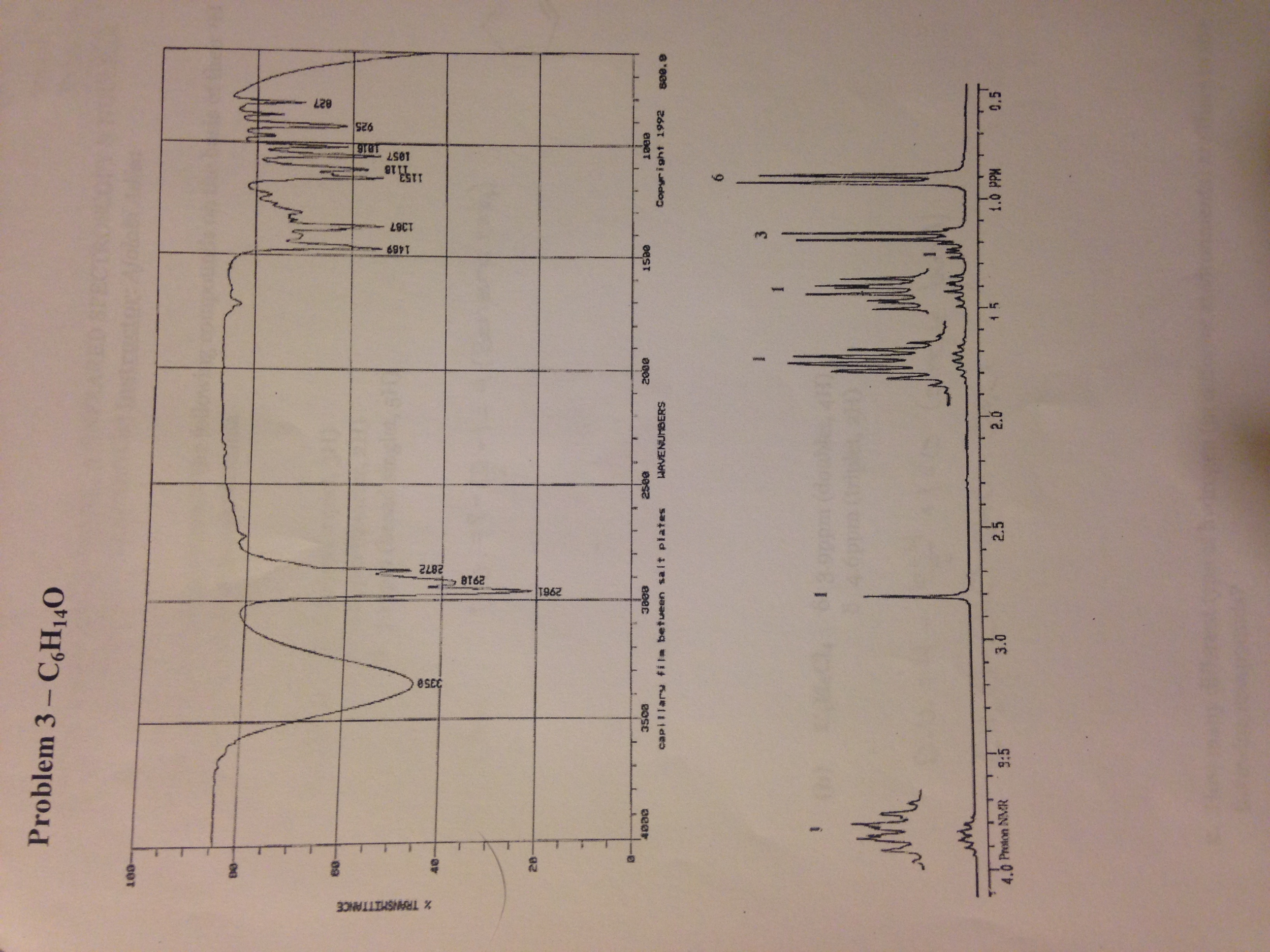 solved c6h14o tell anything about nmr and ir includng st