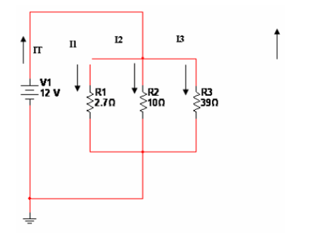 1. Given a parallel electric circuit as shown belo