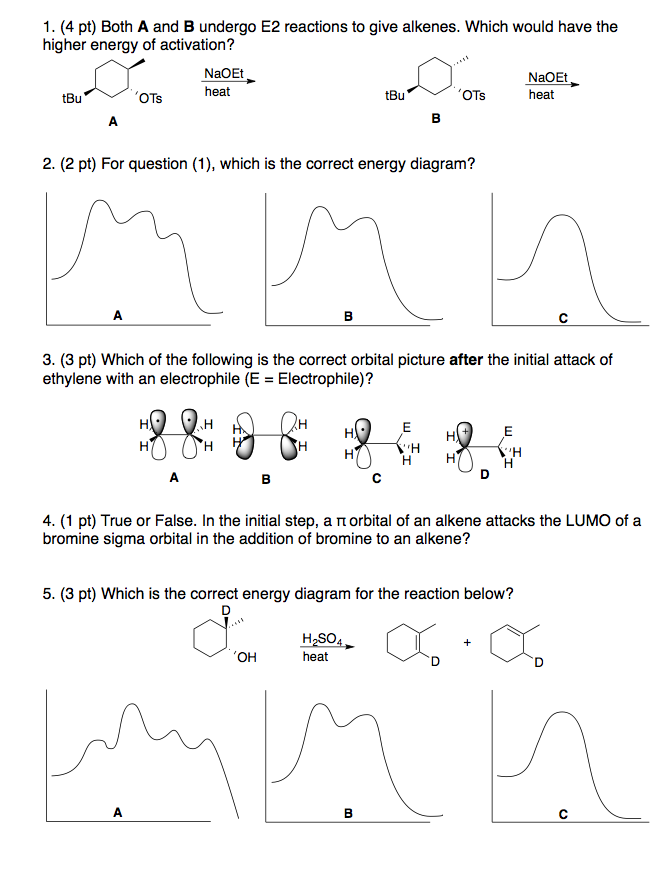 Solved Both A And B Undergo E2 Reactions To Give Alkenes