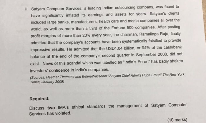 corporate accounting scandal at satyam a case study of india's enron The 'satyam computer services, scandal was a corporate scandal affecting india-based company satyam computer services in 2009 analysts in india have termed the satyam scandal india's.
