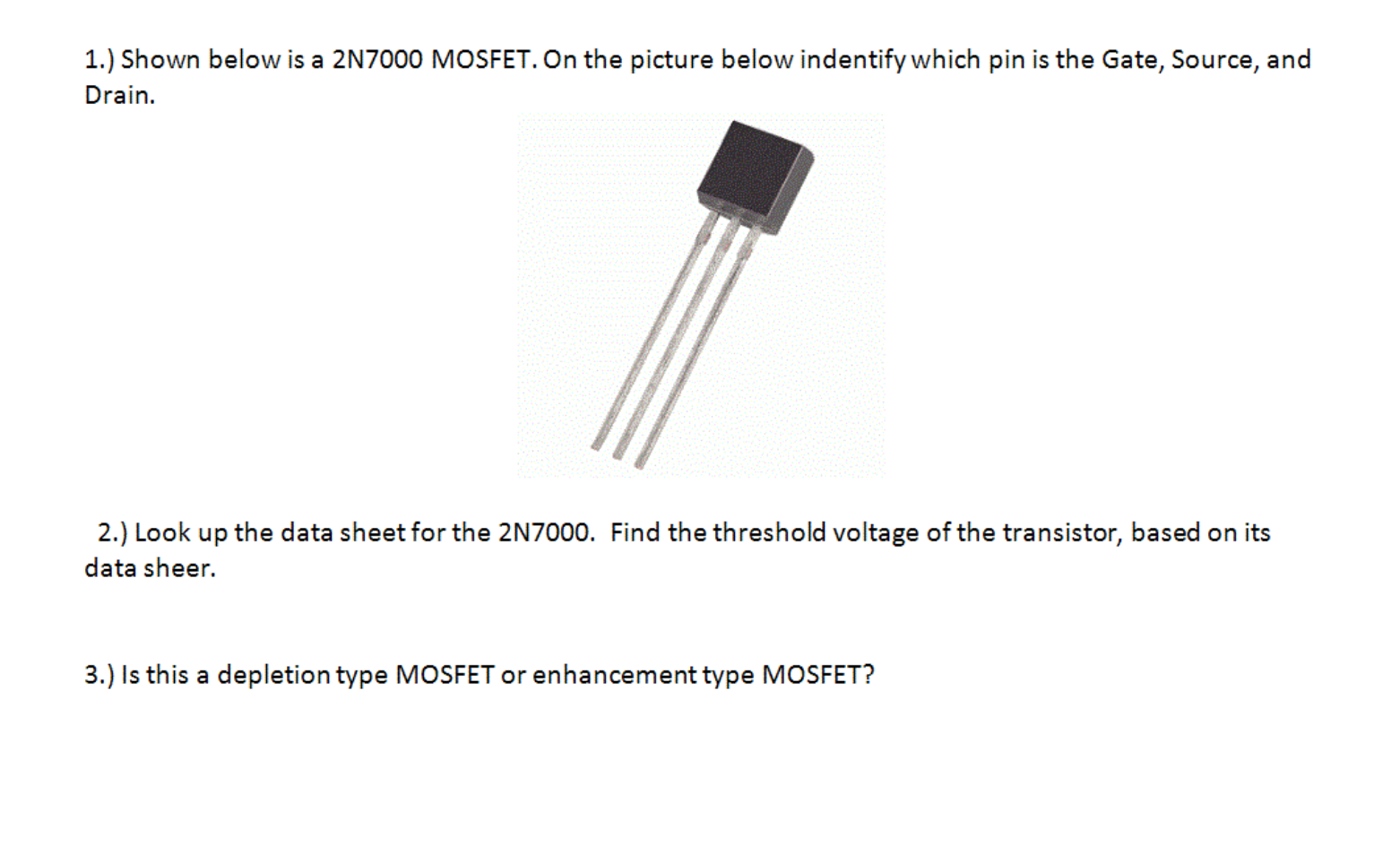 2n7000 Data Sheet Mosfet Test Circuit Solved 1 Shown Below Is A On The Picture