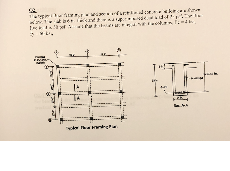 Solved: 02 The Typical Floor Framing Plan And Section Of A ...