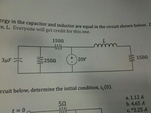 energy in the capacitor and the inductor are equal
