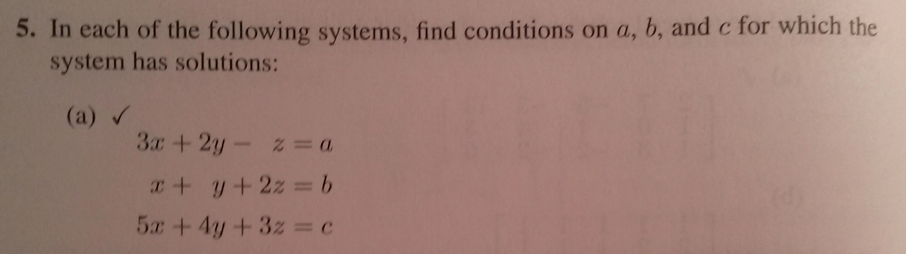 In each of the following systems, find conditions