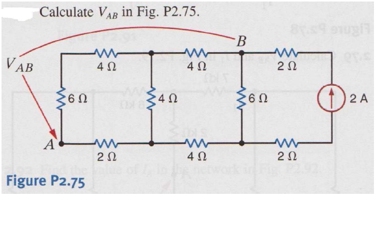 Caluculate VAB in Fig. P2.75.