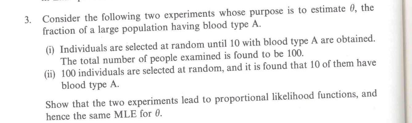 Consider the following two experiments whose purpo