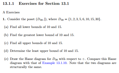 Solved consider the poset d30 where d30 1 2 1311 exercises for section 131 a exercises 1 onsider the poset d30 ccuart Choice Image