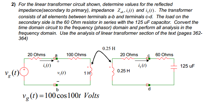 For the linear transformer circuit shown, determin