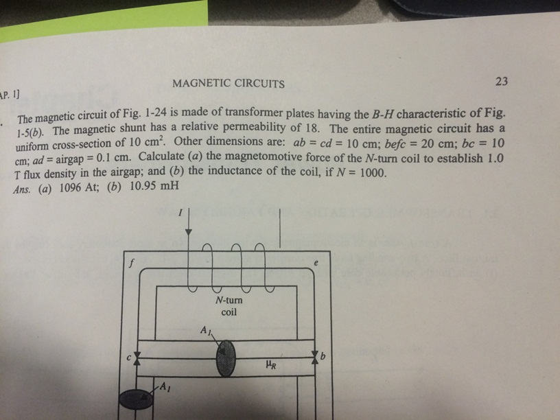 The magnetic circuit of Fig. 1-24 is made of trans