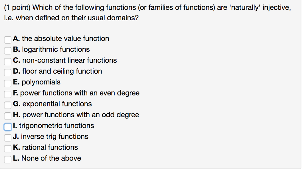 Solved which of the following functions or families of f 1 point which of the following functions or families of functions are sciox Image collections