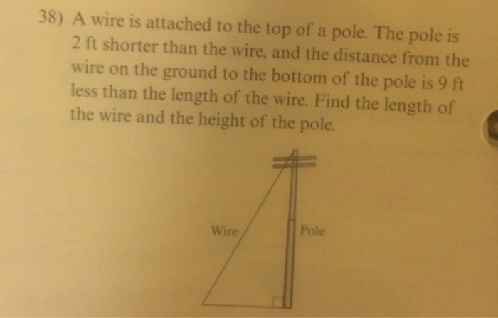 38) A Wire Is Attached To The Top Of A Pole. The P... | Chegg.com