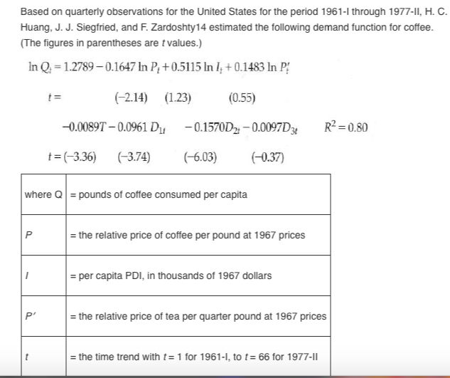 Question: Based on quarterly observations for the United States for the period 1961-l through 1977-ll, H. C...