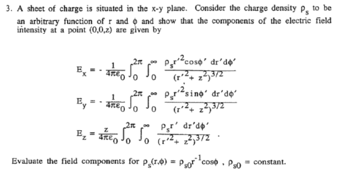 A sheet of charge is situated in the x-y plane. Co