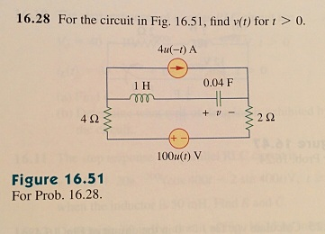 For the circuit in Fig. 16.51, find v(t) for t > 0