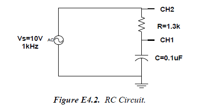 For the circuit of Figure E4.2. VR, VC, and Vs are