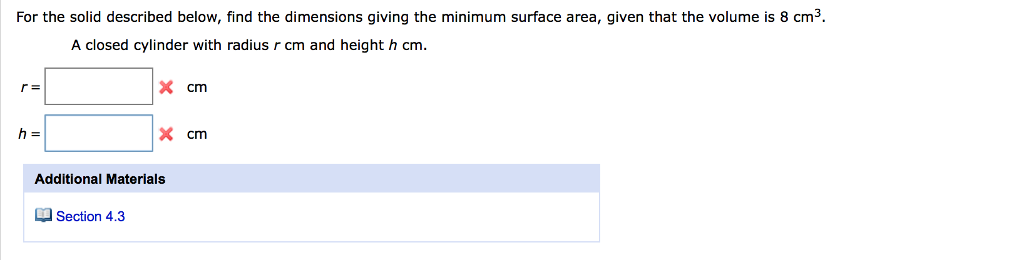 For the solid described below find the dimensions chegg for the solid described below find the dimensions giving the minimum surface area given ccuart Choice Image