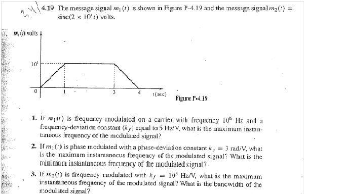 The message signal m1 (t) s shown in Figure P-4.19