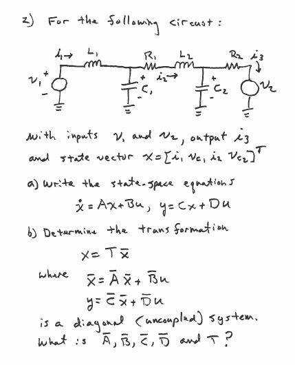 State Space Equations From Electrical Circuit For ... | Chegg.com
