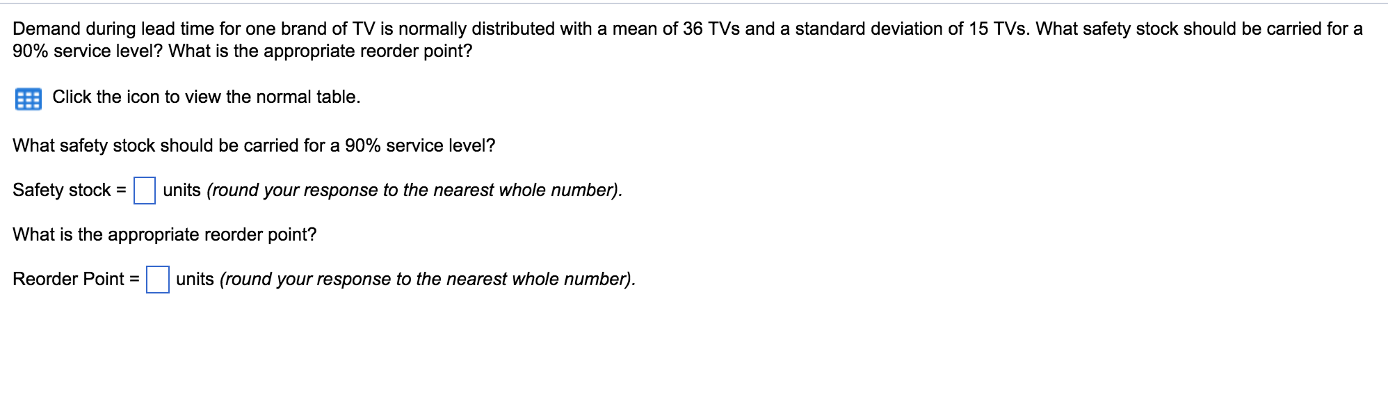 Demand During Lead Time For e Brand TV Is Nor