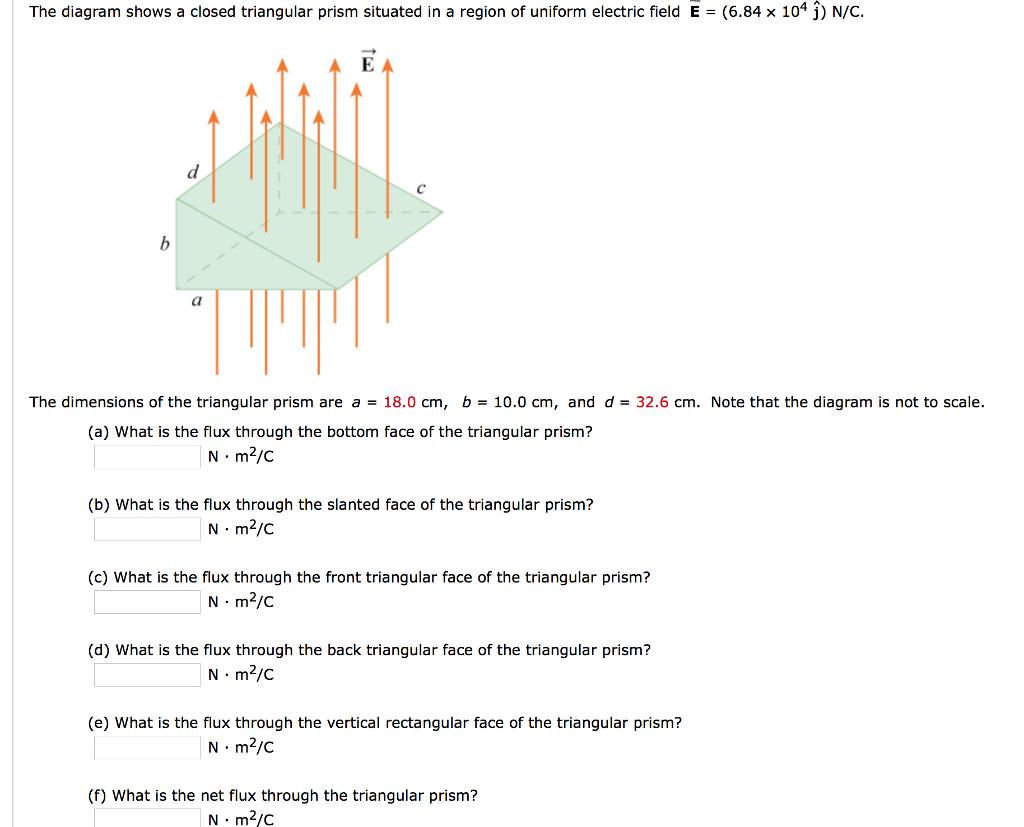 The diagram shows a closed triangular prism situat chegg question the diagram shows a closed triangular prism situated in a region of uniform electric field e 6 pooptronica