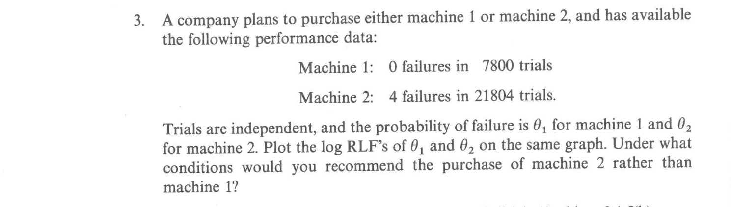 A company plans to purchase either machine 1 or ma