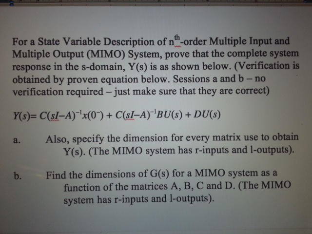 For a State Variable Description of nth-order Mult