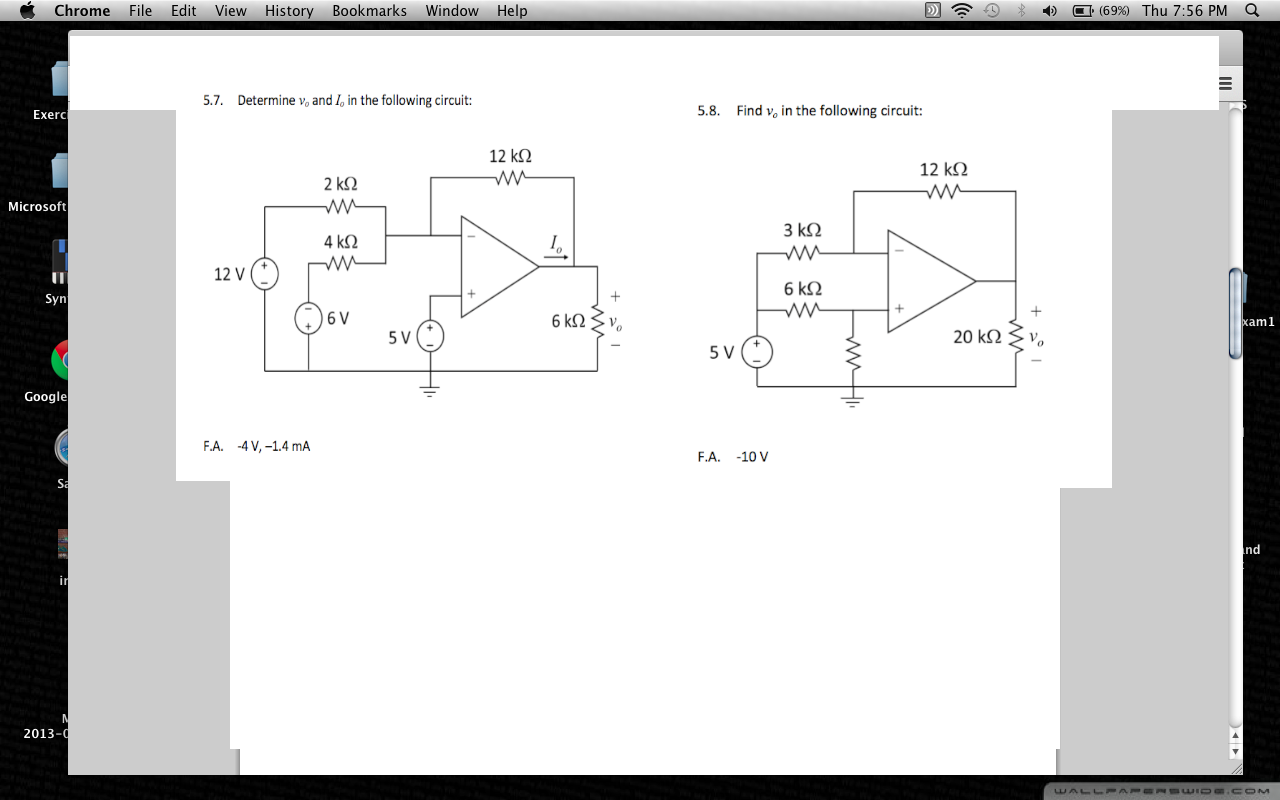 Determine v0 and I0, in the following circuit: Fi