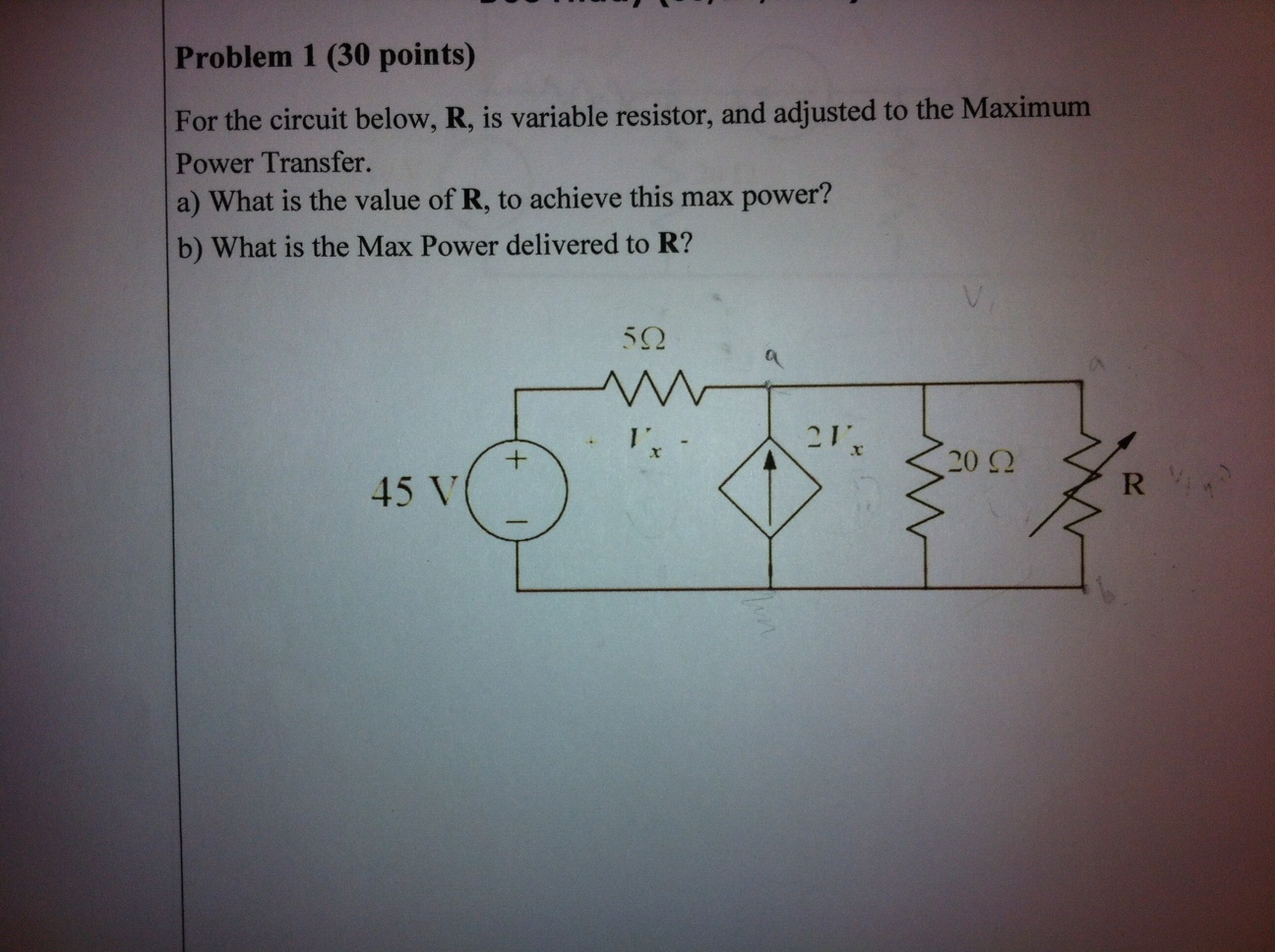 For the circuit below, R, is variable resistor, an