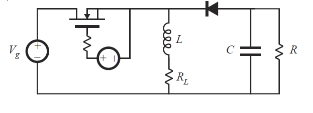 A buck-boost is implemented with a MOSFET and a p-