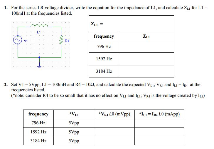 For the series LR voltage divider, write the equat