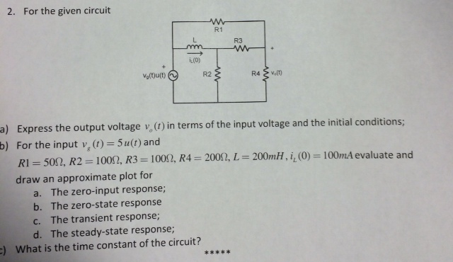 For the given circuit Express the output voltage
