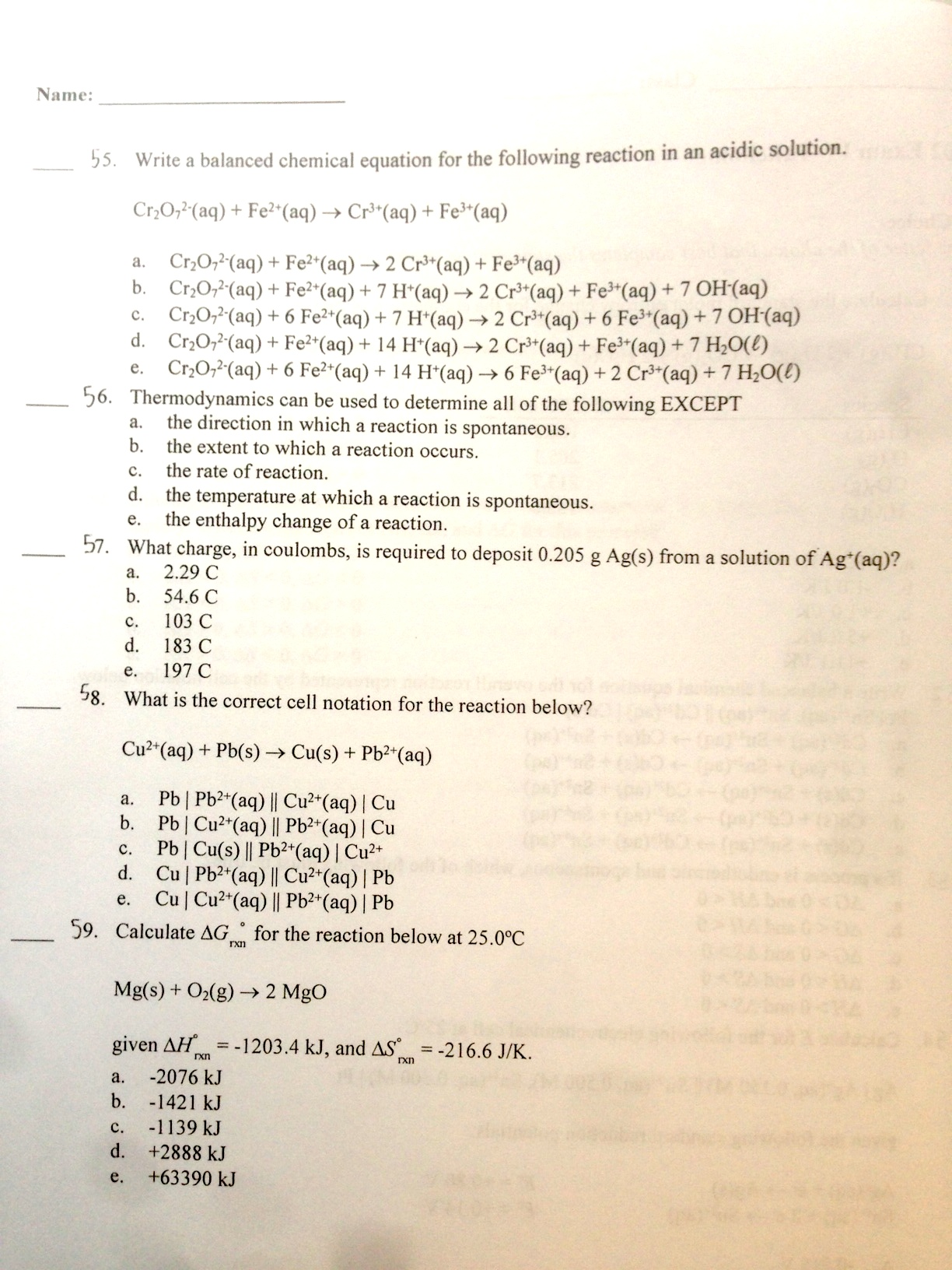 Write a balanced chemical equation for