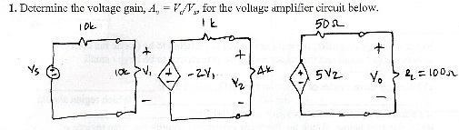 Determine the voltage gain, A = V / V for the vol